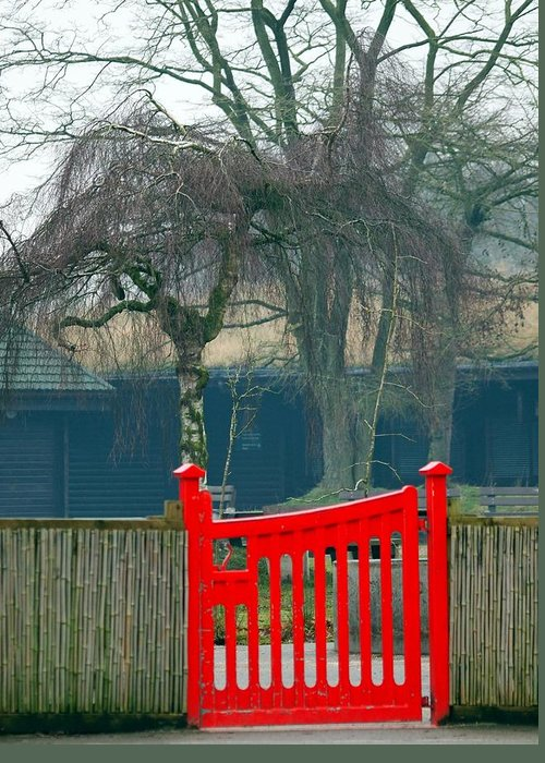 Red Greeting Card featuring the photograph Red Gate by Susan Tinsley