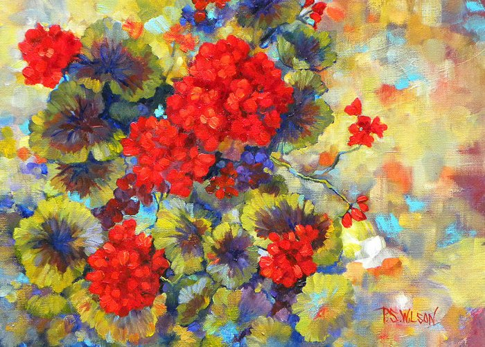 Geraniums Greeting Card featuring the painting Red Geraniums II by Peggy Wilson