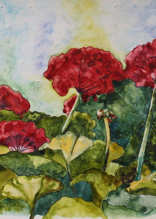 Red Geraniums Greeting Card featuring the painting Red Geraniums by Patsy Sharpe