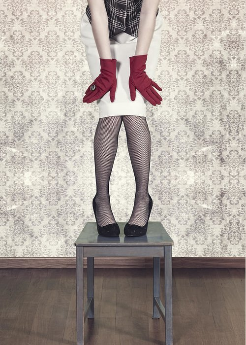 Woman Greeting Card featuring the photograph Red Gloves by Joana Kruse