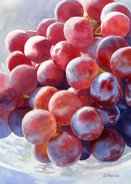 Grapes Greeting Card featuring the painting Red Grape Essence by Sharon Freeman