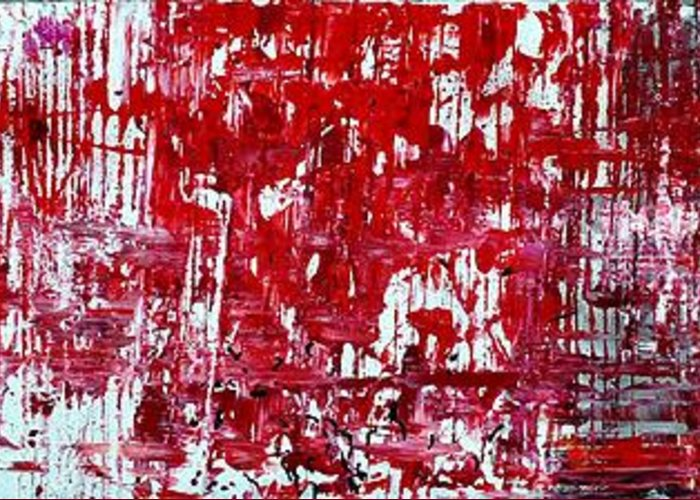 Red Paintings Greeting Card featuring the painting Red Grey White And Black by Martina Niederhauser