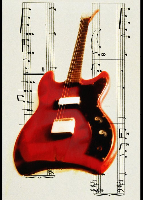 Red Greeting Card featuring the photograph Red Guitar by Bill Cannon