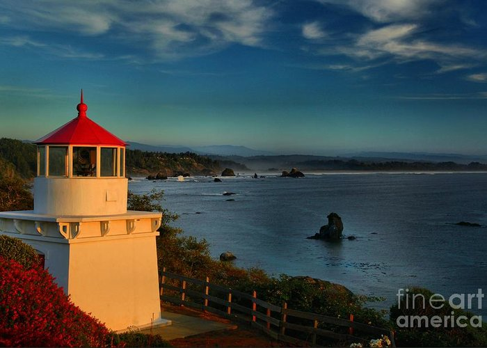 Trinidad Beach Greeting Card featuring the photograph Red Head Light by Adam Jewell