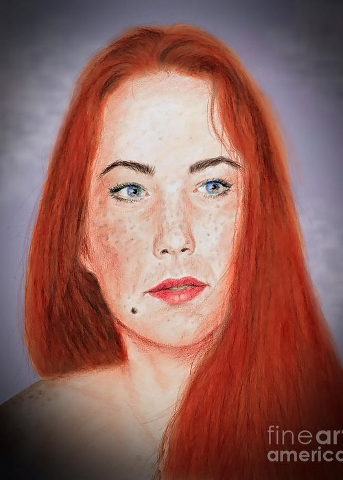Red Headed Greeting Card featuring the drawing Red Headed Beauty Vdersion II by Jim Fitzpatrick