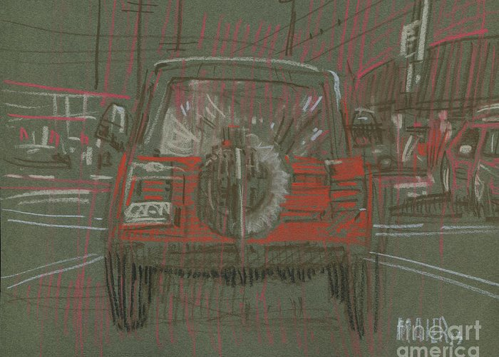 Jeep Greeting Card featuring the drawing Red Jeep by Donald Maier