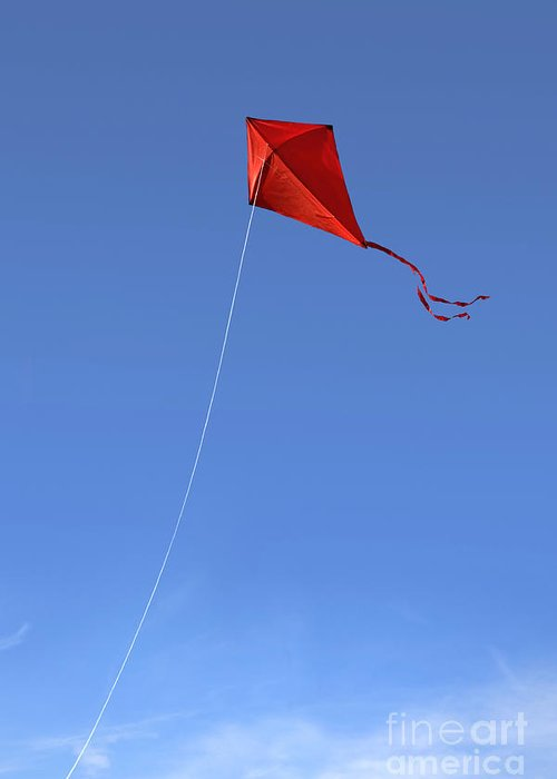 Kite Greeting Card featuring the photograph Red Kite In The Sky by Diane Diederich