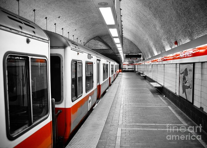 Red Greeting Card featuring the photograph Red Line by Charles Dobbs