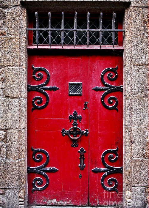 Mont Greeting Card featuring the photograph Red Medieval Door by Elena Elisseeva