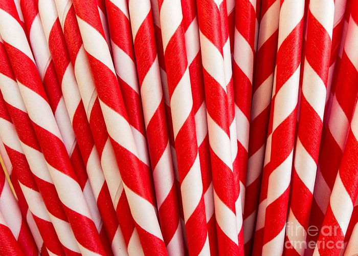 Red Greeting Card featuring the photograph Red Paper Straws by Edward Fielding