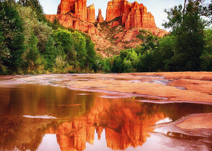 Cathedral Greeting Card featuring the photograph Red Rock State Park - Cathedral Rock by Bob and Nadine Johnston