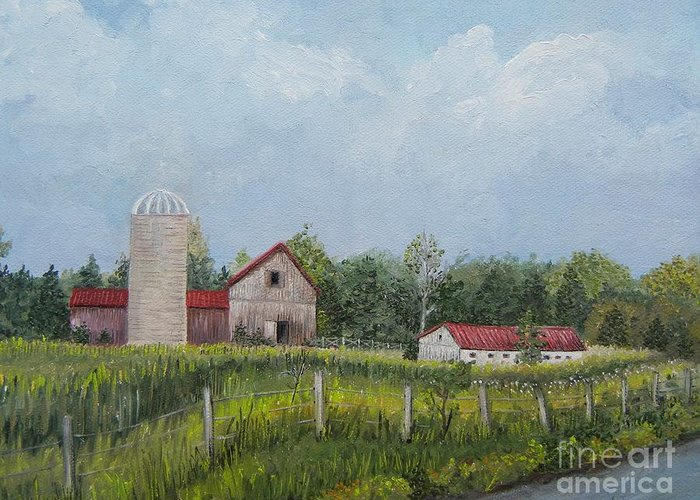 Barns Greeting Card featuring the painting Red Roof Barns by Reb Frost