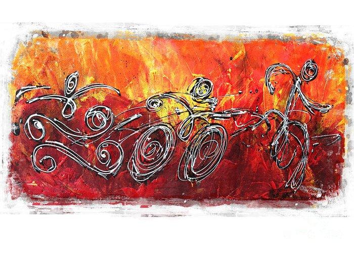 Triathlon Greeting Card featuring the painting Red Splash Triathlon by Alejandro Maldonado