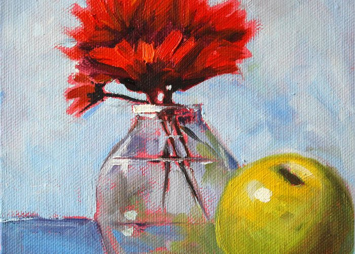Red Flowers Greeting Card featuring the painting Red Still by Nancy Merkle