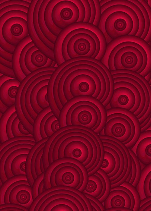 Red Swirls Greeting Card featuring the painting Red Swirls by Frank Tschakert