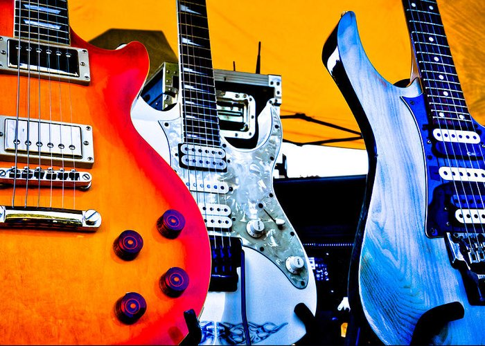 The Kingpins Greeting Card featuring the photograph Red White And Blue Guitars by David Patterson
