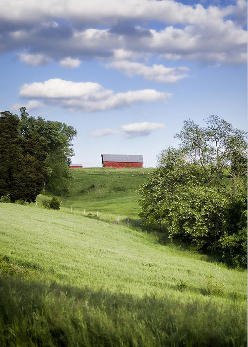 Barn Greeting Card featuring the photograph Red White And Blue by Heather Applegate