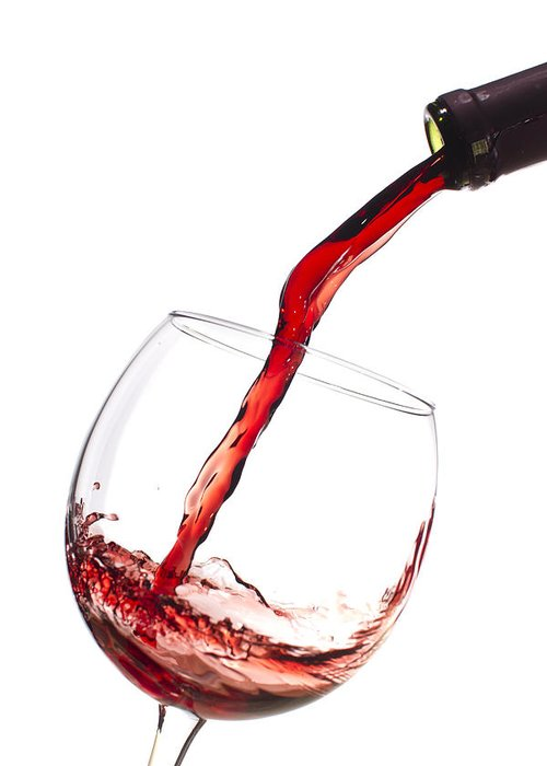 Red Wine Pouring Into Wineglass Greeting Card featuring the photograph Red Wine Pouring Into Wineglass Splash by Dustin K Ryan