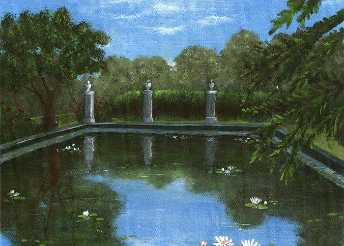 Interior Greeting Card featuring the painting Reflecting Pool by Anastasiya Malakhova