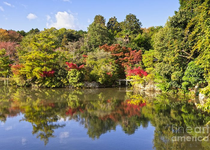 Autumn Greeting Card featuring the photograph Reflection In Kyoyochi Pond In Autumn Ryoan-ji Kyoto by Colin and Linda McKie