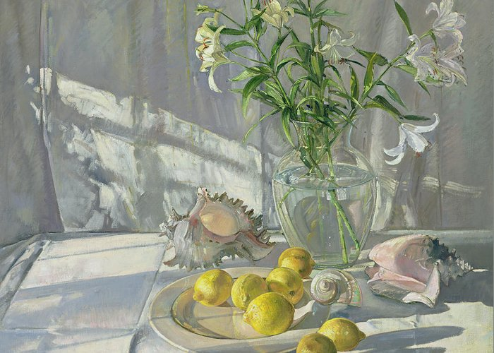 Still Life; Lemon; Flower; Lily; Shells; Shell; Sunlight Greeting Card featuring the painting Reflections And Shadows by Timothy Easton