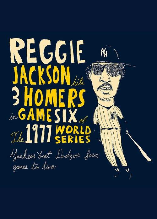 Reggie Jackson Drawings Greeting Card featuring the painting Reggie Jackson New York Yankees by Jay Perkins