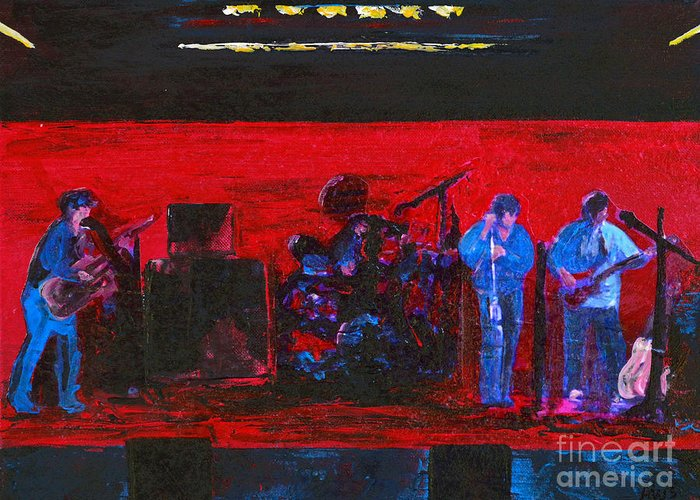 Band Practice Greeting Card featuring the painting Rehearsal by Alys Caviness-Gober