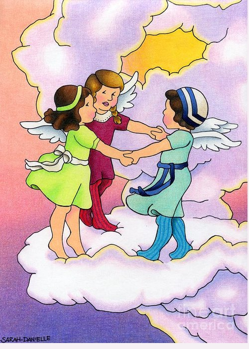 Angels Greeting Card featuring the drawing Rejoice by Sarah Batalka