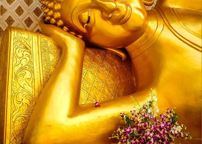 Buddha Greeting Card featuring the photograph Relaxing Contemplation by Allan Rufus