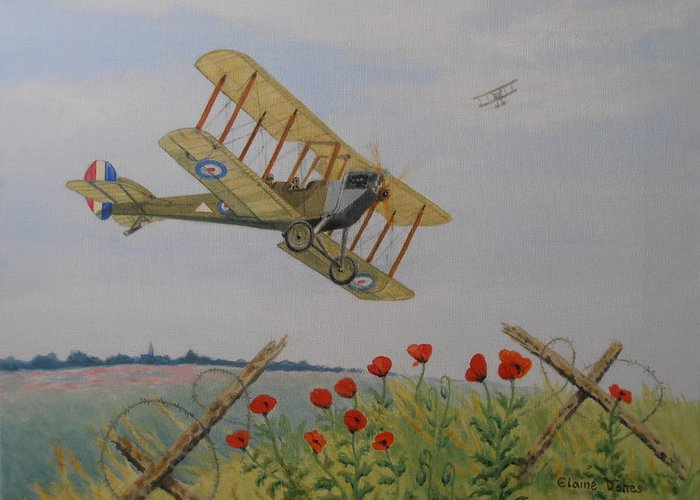 Aircraft Greeting Card featuring the painting Remembrance by Elaine Jones