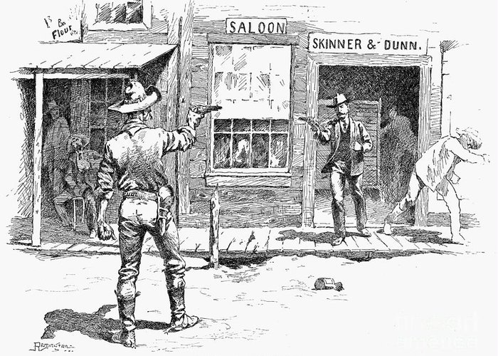 19th Century Greeting Card featuring the photograph Remington: Duel by Granger