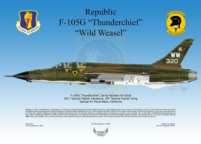 Republic Greeting Card featuring the digital art Republic F-105g Thunderchief by Arthur Eggers