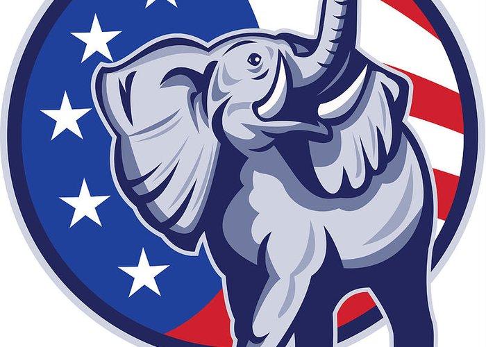 Elephant Greeting Card featuring the digital art Republican Elephant Mascot Usa Flag by Aloysius Patrimonio