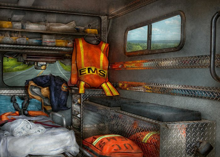 Rescue Greeting Card featuring the photograph Rescue - Emergency Squad by Mike Savad