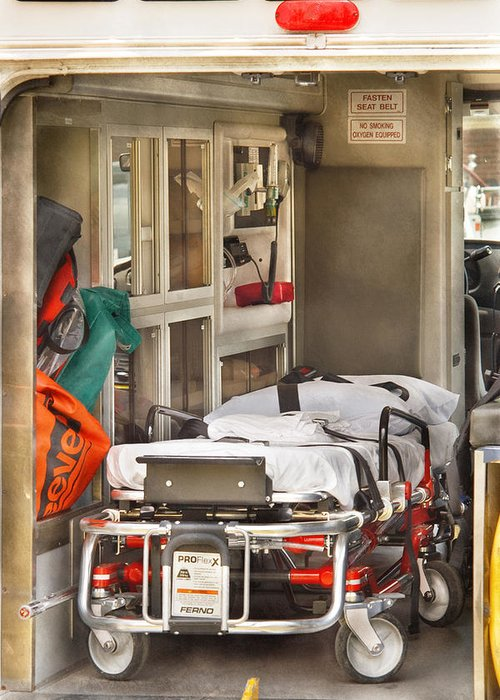 Savad Greeting Card featuring the photograph Rescue - Inside The Ambulance by Mike Savad