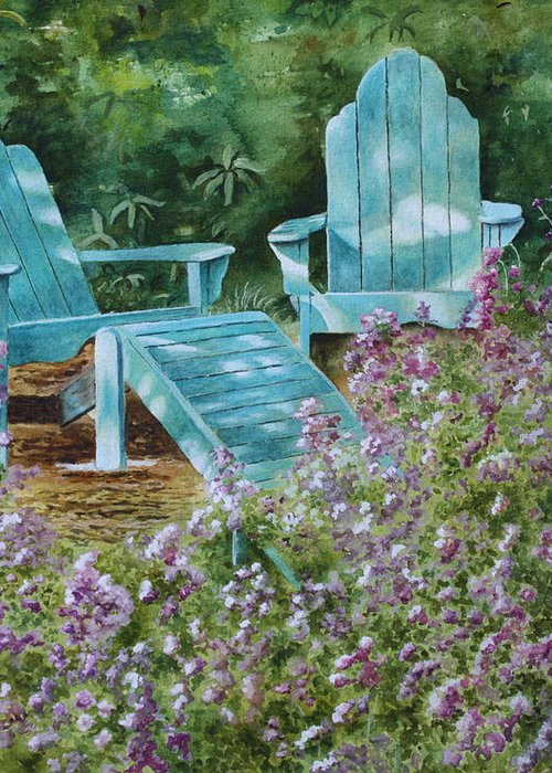 Peaceful Scene Greeting Card featuring the painting Retirement II by Patsy Sharpe