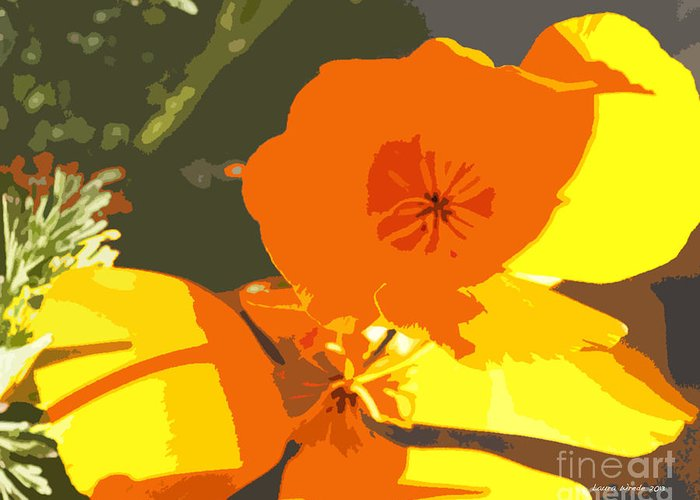 Abstract California Poppies Greeting Card featuring the photograph Retro Abstract Poppies by Artist and Photographer Laura Wrede