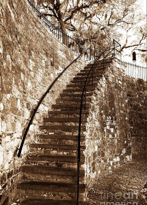 Retro Stairs In Savannah Greeting Card featuring the photograph Retro Stairs In Savannah by John Rizzuto