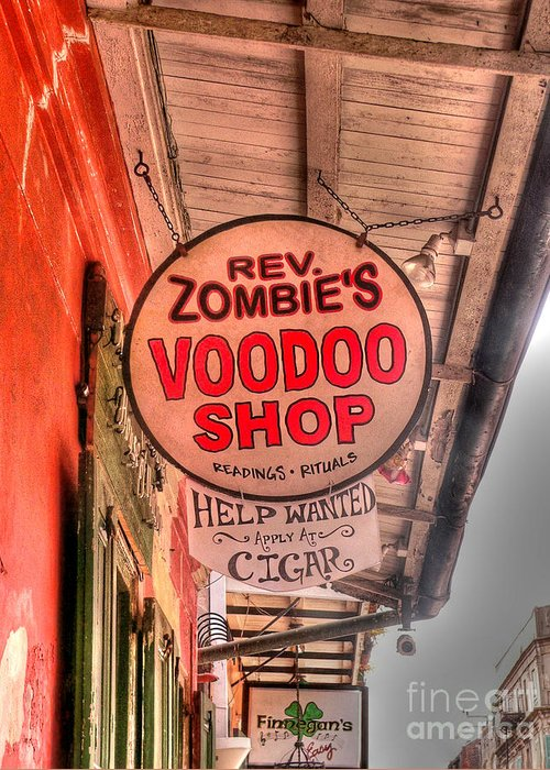 Voodoo Shop Greeting Card featuring the photograph Rev. Zombie's by David Bearden
