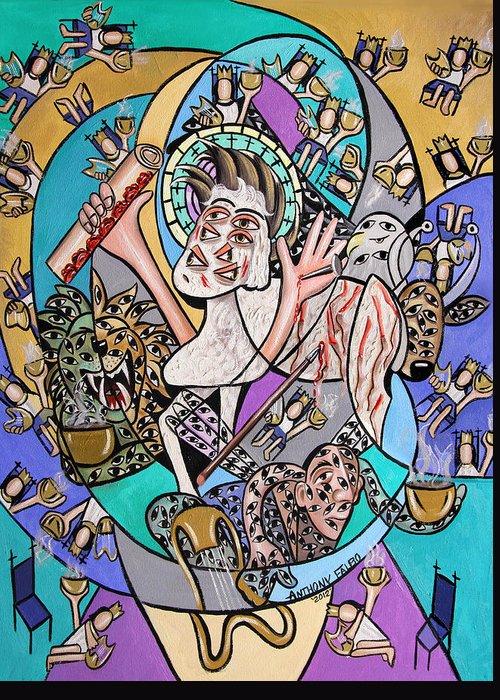 Revelation Chapter 5 Framed Art Greeting Card featuring the painting Revelation Chapter 5 6-14 by Anthony Falbo