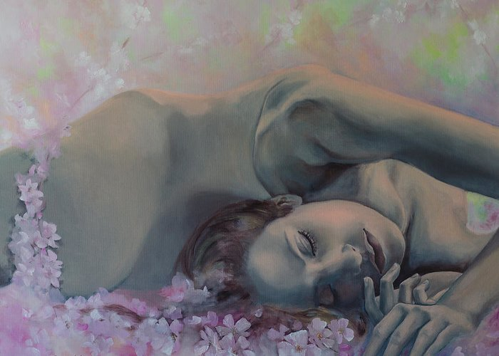 Fantasy Greeting Card featuring the painting Revival by Dorina Costras