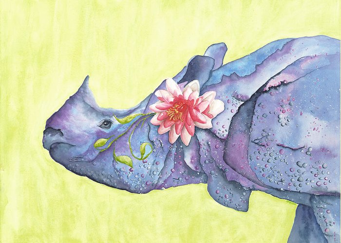 Rhino Greeting Card featuring the painting Rhino Whimsy by Mary Ann Bobko