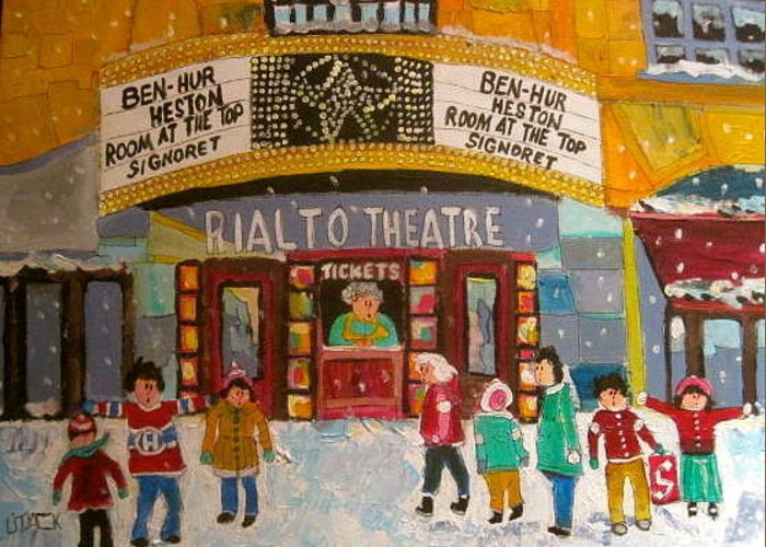 Realto Theatre Greeting Card featuring the painting Rialto Theatre 1960 by Michael Litvack