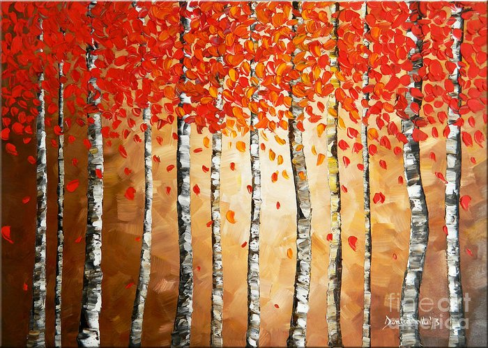Art Greeting Card featuring the painting Rich Trees by Denisa Laura Doltu