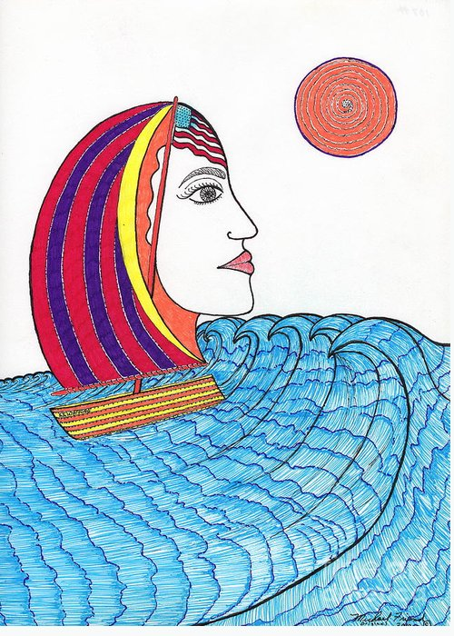 San Francisco Greeting Card featuring the drawing Ride The Waves My Lady On The Bay                      by Michael Friend