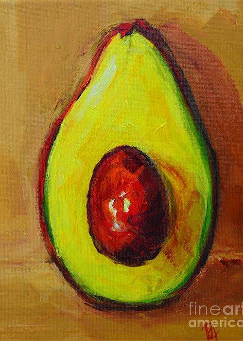 Art Greeting Card featuring the painting Ripe Avocado by Patricia Awapara