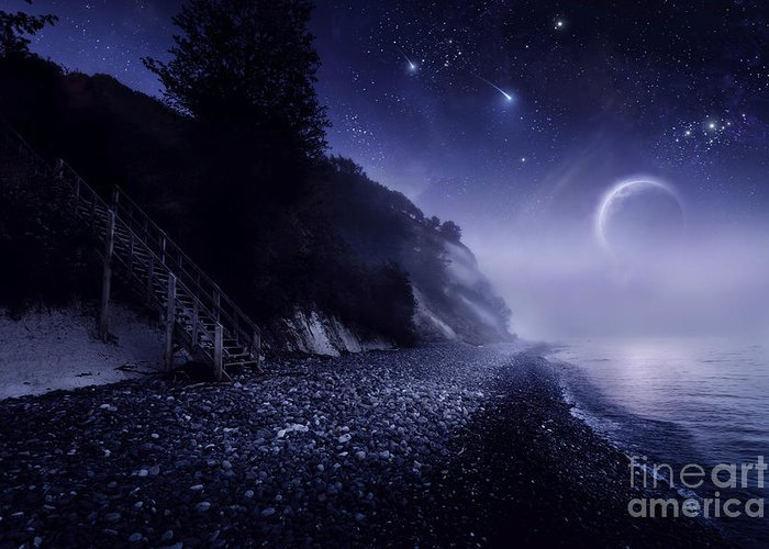 Digital Composite Greeting Card featuring the photograph Rising Moon Over Ocean And Mountains by Evgeny Kuklev