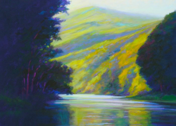 River Greeting Card featuring the painting River Bend by Ed Chesnovitch