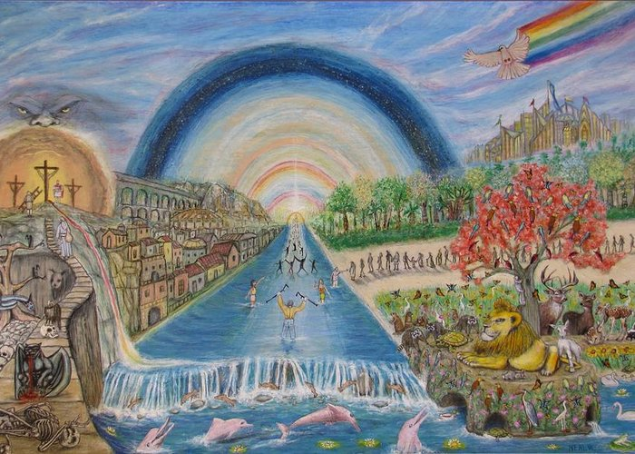 Christian Greeting Card featuring the mixed media River Of Life by Neal David Reilly