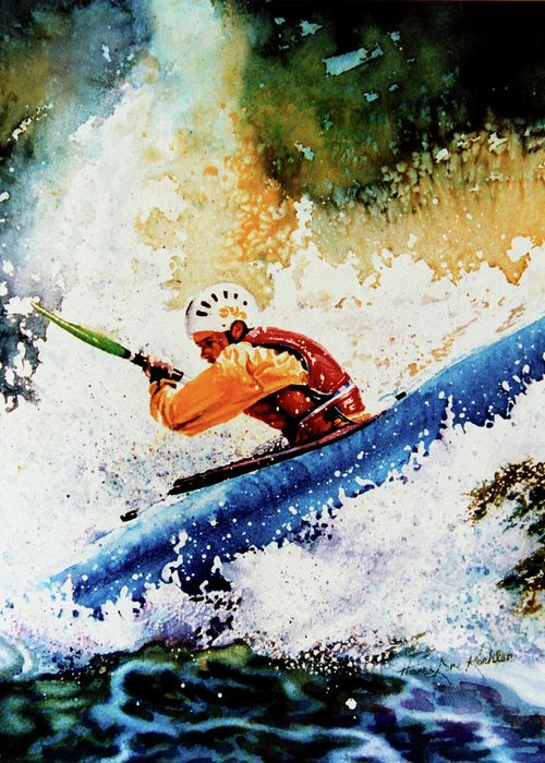 Sports Art Greeting Card featuring the painting River Rush by Hanne Lore Koehler